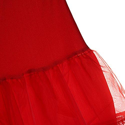 FeelinGirl 50er Jahre Petticoat Vintage Retro Reifrock Petticoat Unterrock für Wedding Bridal Petticoat Rockabilly Kleid in Mehreren Farben Rot