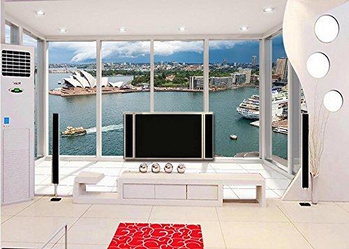 Wapel Papel Tapiz 3D Personalizadas Hermosas Vistas Desde El Balcón De La Casa De La Opera De Sydney En 3D Personalizadas Foto Papel Tapiz Papel Tapiz Para Sala 3D Tela de seda 250x175CM