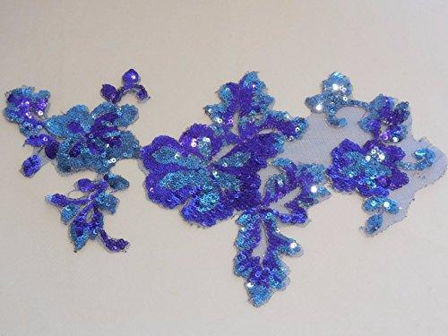 Lila Blau Pailletten-Spitze Applikation Blumen Pailletten Tüll Spitze Motiv 27,5cm x 17cm-Pro Stück * * FREE UK P & P * * -