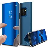 MP4 Telecom Coque Etui Housse pour Samsung Galaxy s9 Plus Case Clear View Etui à Rabat Cover Flip Case Miroir Antichoc Téléphone Portable Samsung (Galaxy s9 Plus, Bleu Clair)