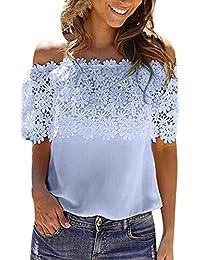 T-Shirt Femme sans Manche Courte 3 4 Crop Top Kangrunmy Chemise Chemisier  Gilet été Débardeur Haut Grande Taille t Shir Tee Shirt… 523f204d579