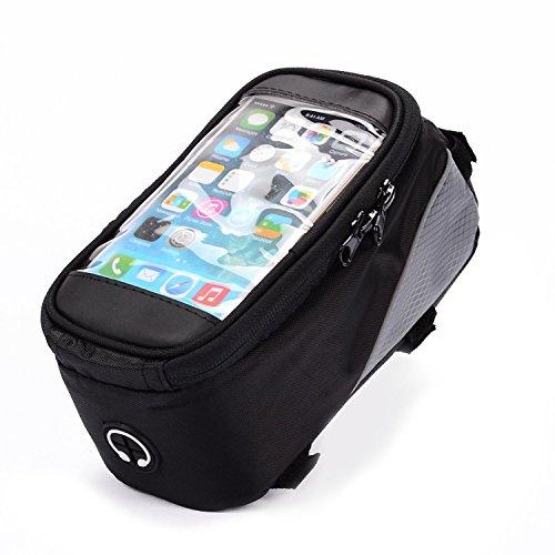 4 Unzen-fall-pack (Schwarz Fahrrad Lenker Oberrohr Tasche Pack Beutel für Motorola Moto M/Moto Z Play/X Force/X Style/LG Stylus 2/Honor 74G UK/wileyfox Spark X/BLU Vivo 5R)