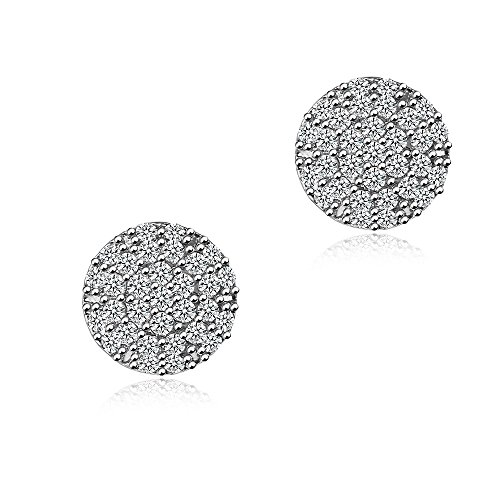 Half Ball CZ Stud Earrings - Fleur Rouge 18K Gold Plated Round Cubic Zirconia Stud Earrings With Silver Post