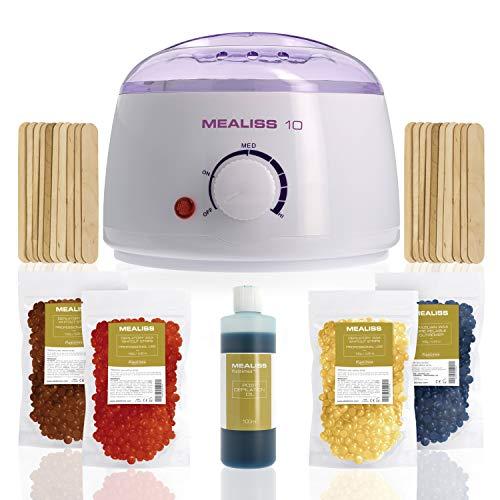 Waxing Kit Wachsperlen MEALISS 10 4in1 Komplett Brazilian Waxing-Set Wachswärmer Heisswachs Gerät zur Haarentfernung für zuhause -
