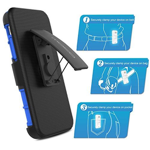 """MoKo Hülle für iPhone 6S Plus - [Heavy Duty Serie] Outdoor Dual Layer Armor Case Handy Schutzhülle Bumper mit Gürtelclip / Standfunktion für Apple iPhone 6 Plus / 6S Plus 5.5"""" Smartphone, Schwarz Marineblau"""