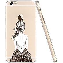 iPhone 4 4S Case Cover Carcasa , IJIA Chica Espalda Pluma Caso Cubierta Transparente TPU Gel De Silicona Suave Funda Tapa Para Apple iPhone 4 4S + 24K Etiqueta Engomada