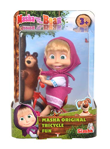 Simba 109302059 - Mascha und der Bär - Mascha Puppe mit original Dreirad