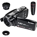 Kamera Camcorder, Besteker HDMI 1080P 24,0 Megapixeln Gesichtserkennung 16X Digital-Zoom-Videokamera mit 3,0 Zoll Drehbarem TFT-LCD-Touchscreen, Fernbedienung, 12X Teleobjektiv und Weitwinkelobjektiv