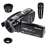 Besteker Kamera Camcorder, HDMI 1080P 24,0 Megapixeln Gesichtserkennung 16X Digital-Zoom-Videokamera mit 3,0 Zoll Drehbarem TFT-LCD-Touchscreen, Fernbedienung, 12X Teleobjektiv und Weitwinkelobjektiv
