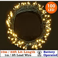 Amazon battery operated and outdoor string lights fairy lights 100 warm white christmas tree lights indoor outdoor led string lights 10m33ft lit length battery operated 8 functions ideal for mozeypictures Gallery