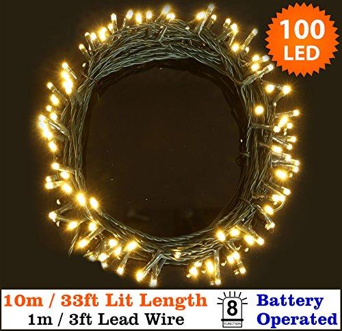 Luces de hadas 100 cálido blanco árbol de Navidad luces interiores y exteriores LED de cuerda luces 10 m/33 longitud iluminada-batería operado-8 funciones-cable verde