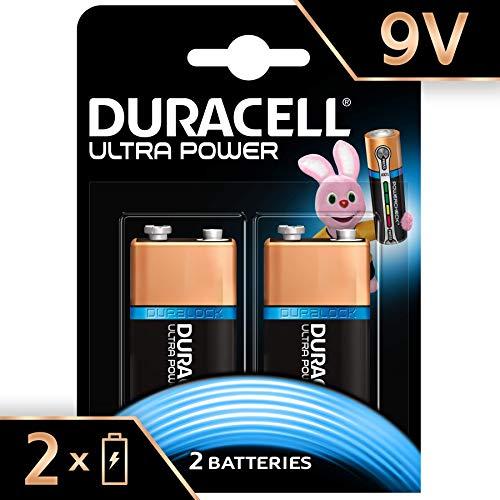 Duracell Ultra Power 9 V con Powercheck, Batteria Alcalina, Confezione da 2
