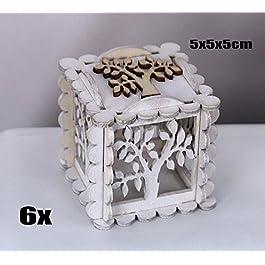 6 PEZZI Scatola legno bianco portaconfetti con albero della vita bomboniera