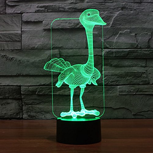 3D Illusion Lamp Jawell Night Light Ostrich 7 Changing Colors Touch USB Table Nice Gift Toys Decorations