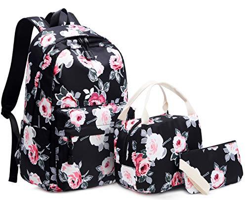 Mädchen Rucksack Set Blumen Schulrucksack Daypack Damen Teenager Reise Schultasche Laptop Backpack für Mädchen Schule 3 in 1 (Schwarz) (Teenager-mädchen Für Material)
