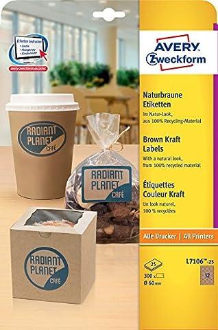 Avery Zweckform L7106-25 Produkt-Etiketten (A4, 300 Stück, Ø 60 mm)