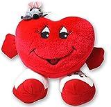 1 x Herzkissen 15 cm Plüsch stehend Arme mit Maus Rot Herz Kissen Valentinstag