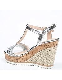 Ideal Shoes Sandali compensate effetto camoscio Tessie, Giallo (giallo), 37