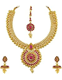 Adiva Wedding Bridal Rani Pink Metal Alloy Jewellery Set With Necklace Maang Tika And Earrings For Women