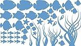 GRAZDesign 770029_57_056 Wandtattoo Unterwasserwelt mit Fischen - Seesterne - Algen - Muscheln | Wand-Aufkleber Wand-Sprüche in verschiedenen Größen (100x57cm//056 lichtblau)
