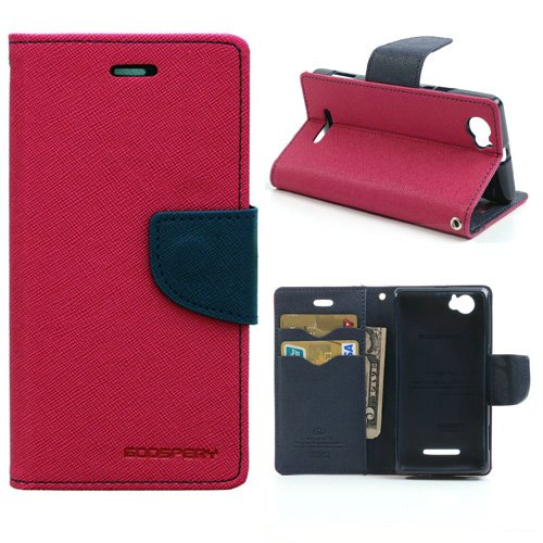 Cubezap Mercury Goospery Fancy Diary Card Wallet Flip Case Back Cover for Sony Xperia M Experia Dual - Pink Blue  available at amazon for Rs.360