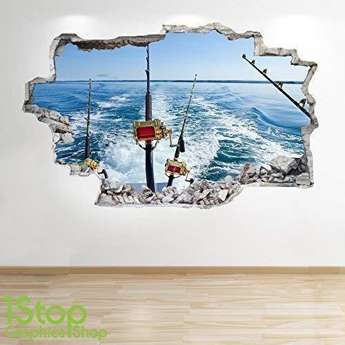 1Stop Graphics Shop Hochseeangeln Wandaufkleber 3D Optik - Jungen Kinder Schlafzimmer Extrem Sport Wand Abziehbilder Z247 - Large: 70 cm x 111 cm