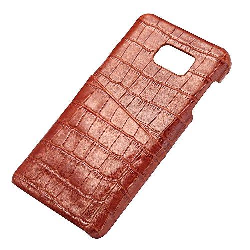 Note5 Coque,EVERGREENBUYING en Fibre de Carbone [Crocodile Pattern] SM-N920 Cases Housse Etui Shock-Absorption Bumper et Anti-Scratch Back pour Samsung Galaxy Note 5 Rose Marron