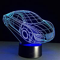 JJZXD Night Light - Premium 3D Illusion Night Light Set Sports Car Designs in 1 Box - 7 Color with USB Cable and Mains Plug and with Dimmer