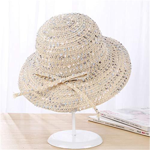 SUNDLSNJCS Sommer Hut Frauen StrandhüTe Bowknot Breite GroßE Krempe Faltbare Sombreros De Mujer Mode Sonnenhut Beige