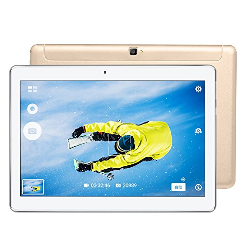 Beautyrain 10,1-Zoll-Tablet 2 + 32G Android 7.0 unterstützt Dual-SIM-Karte, 4G-Anruf, WiFi, Blue-Tooth, Micro-HDMI, Multi-Touch-IPS-Bildschirm, OTG-Funktion, Gold