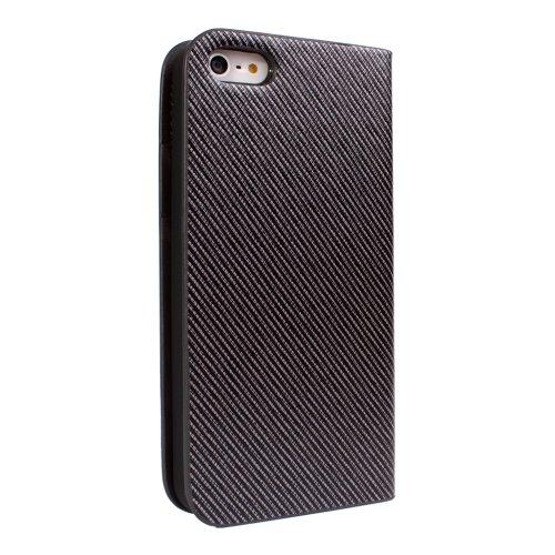 PDNcase iPhone 5S Hülle Genuine Ledertasche Wallet Brieftasche Schutzhülle Case Tasche mit Standfunktion und Card Holder Compatible für iPhone 5s Color Dark Braun Silber