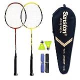 Senston Grafite Racchetta da badminton - Compreso 1 Badminton Bag/2 Badminton/2Volano/2 Grip,rosso+giallo