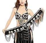 Dance Fairy Nappe Danza del Ventre Reggiseno Capestro Strass del Fiore 36D / 80D con la Cinghia Estensione del Reggiseno,Nero