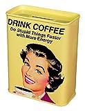 Unbekannt Klang und Kleid MT9250 Spardose Retro Kaffeekasse, Metall, 9,0 x 4,5 x 11,5 cm, gelb