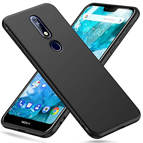 Peakally Cover per Nokia 7.1 in TPU Nero Opaco, Morbido TPU Custodia Cover Slim Anti Scivolo Custodia Protezione Posteriore Cover Antiurto per Nokia 7.1-Nero
