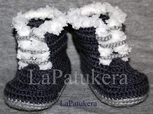 Bottes Pirineo. Chaussons bébé au crochet, unisexe. Bottes le style PIRINEO. Couleur bleu, laine, tailles 0-9 mois. Fait main en Espagne. cadeau pour bébé.