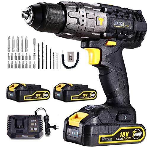Taladro Atornillador, TECCPO Taladro Percutor 18V, 60 Nm, 30min Cargador Rapido, 2 Baterías Litio 18V...