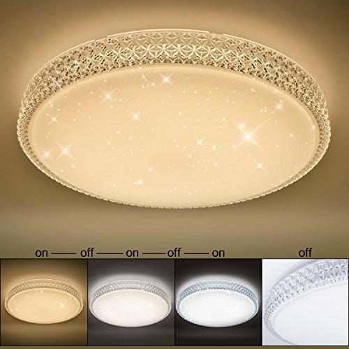 VINGO® 60W LED Deckenleuchte Starlight-Design Wandlampe Wohnraum Schlafzimmer Lampe Farbwechsel rund Mordern Dekor IP44 Geeignet für Wohnzimmer Schlafzimmer