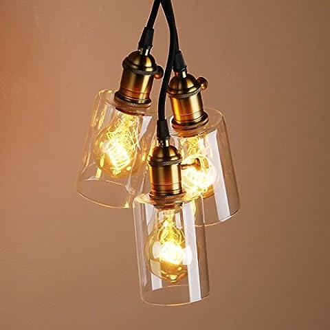 Pathson Industrial Vintage Loft Bar Glass Shade Three Light Hanging Ceiling Pendant Light Lamp (Antique)