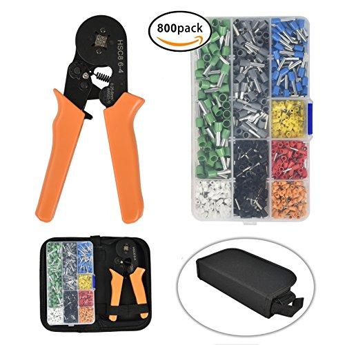 5-tool-kit (800 Stecker Crimpzange Set, SUNMI Aderendhülsen Kabelschuhe Tool Kit, 0.25-6.0mm² Verstellbare Ratschenstecker Crimper Werkzeuge, Automatisch, Anstrengung, nicht müde Hände)