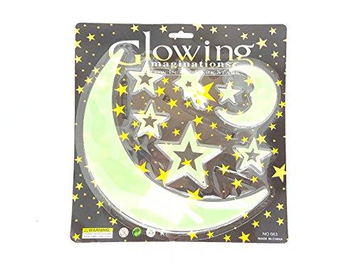 Glow in the Dark Kunststoff Mond und Sterne von GN Unternehmen, plastik, Set of 8 (Crazy Kleidung 8)