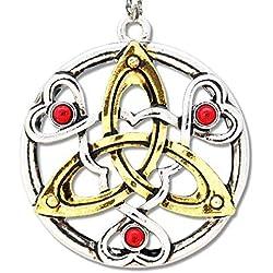 Amuleto celta Talismán del Cu chulainn redondas aleación de cinc Dorado teilcoloriert Incluye Cadena