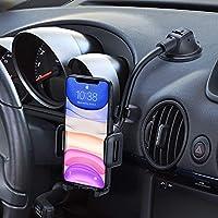 Mpow Soporte Móvil Coche, Soporte del Coche Móvil Universal para Salpicadero y Parabrisas con Ventosa de Gel Fuerte y Fijador Antivibración, para iPhone 12/11/SE/X/8/7 Plus, Galaxy S9/S8, Xiaomi ect