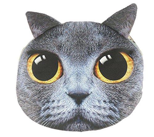 Adorabile gatto Lovers Cat Face small Spalla Borsetta Grey Shorthair Orange Eyes