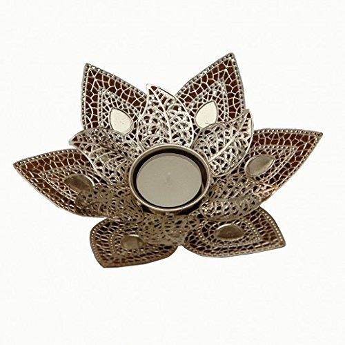 THE YELLOW DOOR Silber Blume T-Licht Halterungen Kerze Light Halter Schaustück (Kristalle Herzstück)