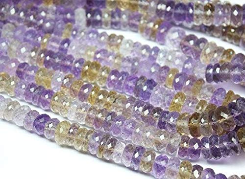 lor Ametrine Faceted Micro Rondelle Gemstone Loose Craft Beads Strand 16 Inch Long 8mm 12mm Code-HIGH-1737 ()