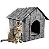 Maison Pour Chat Extérieur, PUPPY KITTY Hiver Chat Cabane Niche, 52 x 42.5 x 42 cm, Facile à Laver, Pliable avec Coussin Amovible Doux et Chaud pour Chat Chien Lapin Chiot