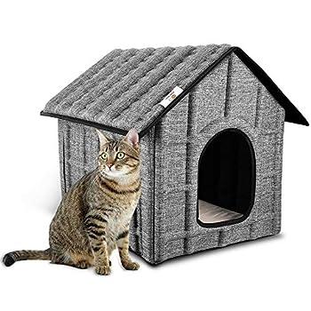 PUPPY KITTY Maison de Chat Pliable pour extérieur avec Matelas Amovible Doux et Chaud pour Chiens, Chats, Chiens, Lapins