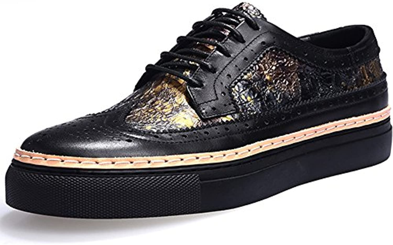 Bullock Herrenschuhe Geschnitzt Freizeitschuhe Dick Soled Mode Herren Leder Flut Schuhe Black 43