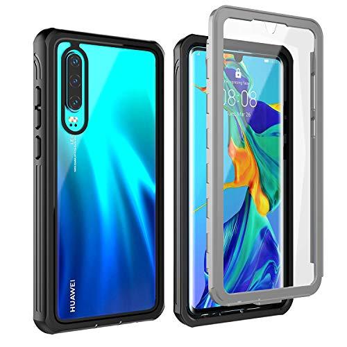 BESINPO Huawei P30 Hülle, Stoßfest Transparent Hülle 360 R&umschutz mit Eingebautem Bildschirmschutz Robust Bumper Handyhülle Schutzhülle für Huawei P30 2019 (Schwarz/Grau+ Klar)